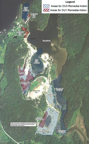 Areas of contamination and former mine operations